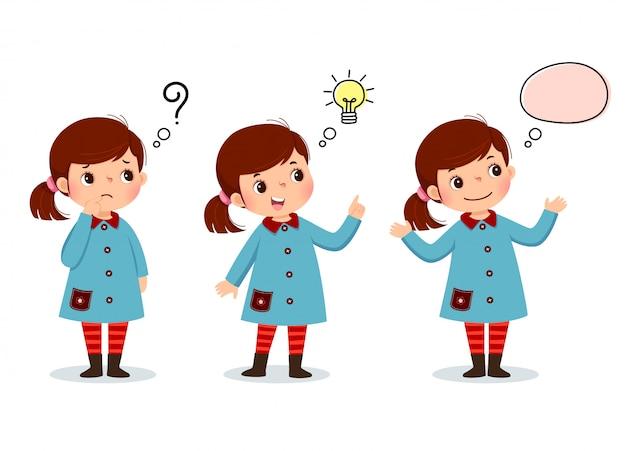 Vectorillustratie van cartoon jongen denken. doordacht meisje, verward meisje en meisje met geïllustreerde lamp boven haar hoofd Premium Vector