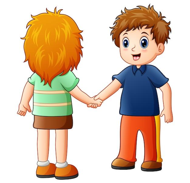 Vectorillustratie van cartoon jongen en meisje handen schudden Premium Vector