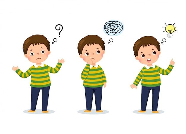 Vectorillustratie van cartoon kind denken. nadenkende jongen, verwarde jongen en jongen met geïllustreerde lamp boven zijn hoofd Premium Vector