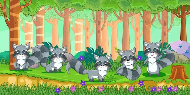 Vectorillustratie van cartoon wasberen in de jungle Premium Vector