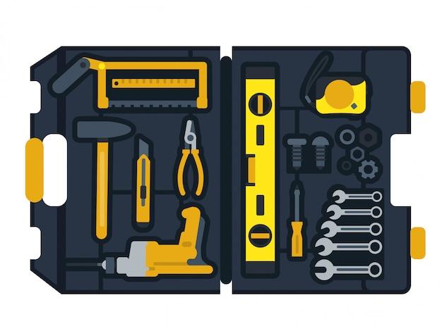 Vectorillustratie van de doos van bouwhulpmiddelen Premium Vector