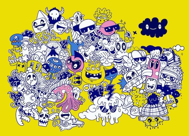 Vectorillustratie van doodle schattige monster hand-tekening doodle Premium Vector