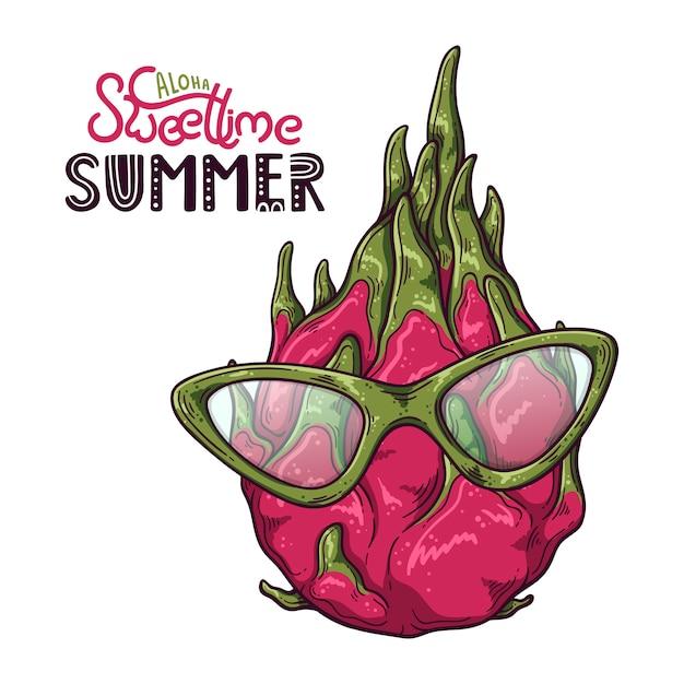 Vectorillustratie van draakfruit. belettering: aloha sweet time zomer. Premium Vector