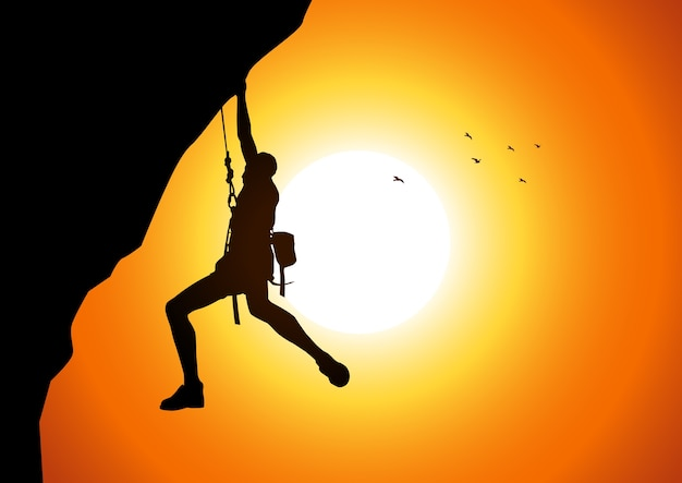 Vectorillustratie van een man figuur opknoping op de klif Premium Vector
