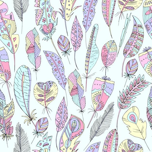 Vectorillustratie van een naadloos veelkleurig patroon van veren van vogels Premium Vector