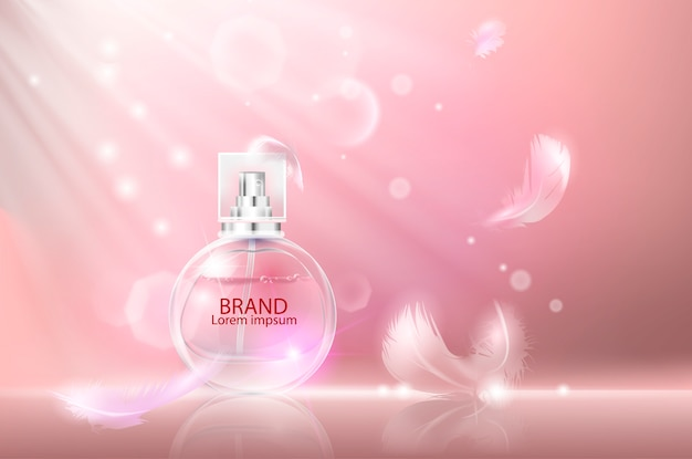 Vectorillustratie van een realistisch stijlparfum. Premium Vector