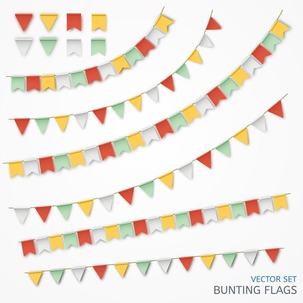 Vectorillustratie van een realistische slinger van kleurrijke vlaggen. Premium Vector