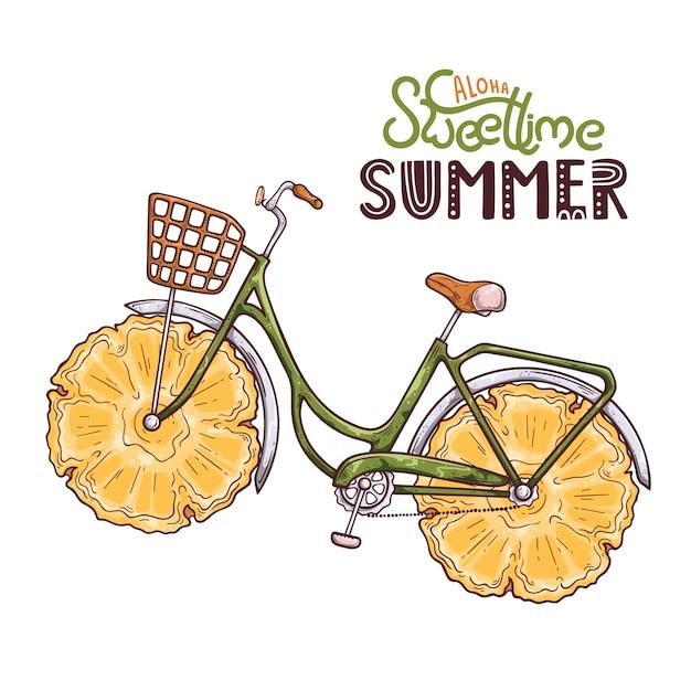 Vectorillustratie van fiets met ananas in plaats van wielen. belettering: aloha sweet time zomer. Premium Vector