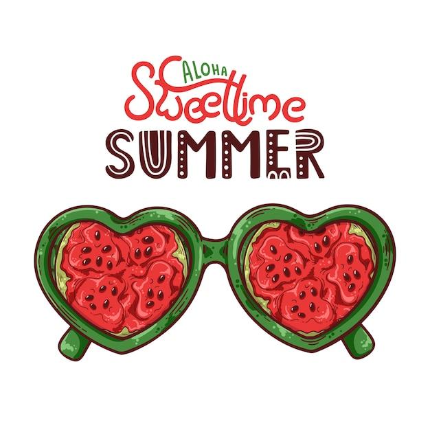 Vectorillustratie van glazen met watermeloen in plaats van lenzen. Premium Vector