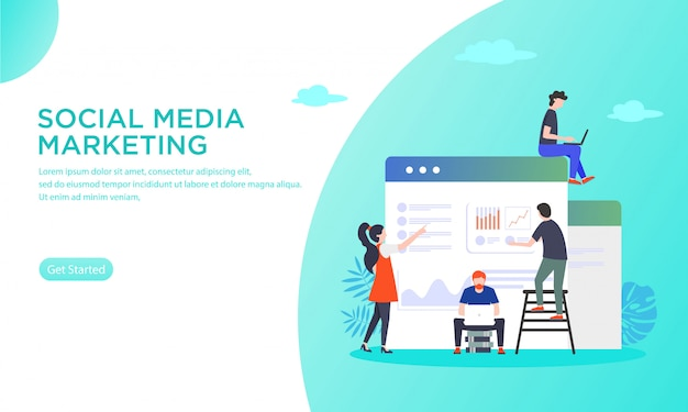 Vectorillustratie van het beheren van sociale media marketing Premium Vector