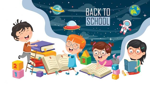 Vectorillustratie van kinderen terug naar school Premium Vector