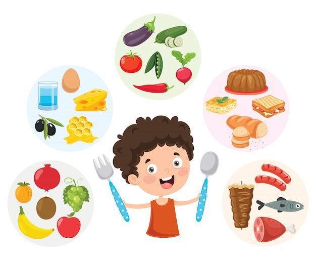 Vectorillustratie van kinderen voedsel concept Premium Vector