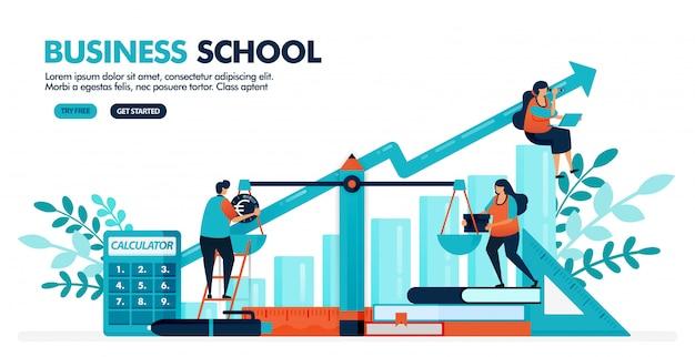 Vectorillustratie van mensen berekenen balans op de schaal. grafiek diagram. bedrijfs-, boekhoud- en economische school. Premium Vector