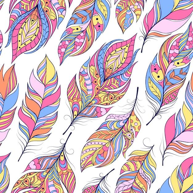 Vectorillustratie van naadloos patroon met kleurrijke abstracte veren Premium Vector
