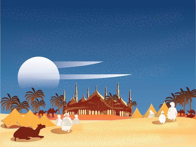 Vectorillustratie van oase in arabische woestijn. bedouin of reizigers islamitisch in egypte Premium Vector
