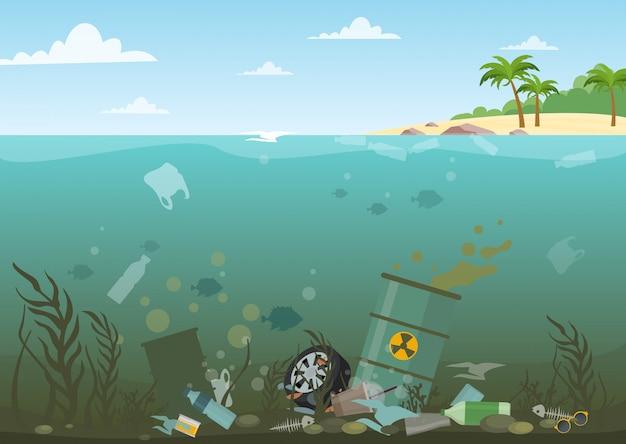 Vectorillustratie van oceaanwater vol met gevaarlijk afval aan de onderkant. eco, watervervuiling concept. vuilnis in het water, vlakke stijl. Premium Vector