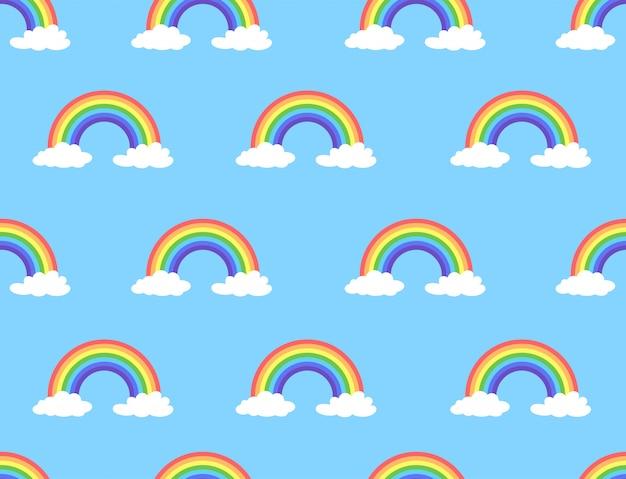 Vectorillustratie van regenboog en wolken naadloos patroon Premium Vector