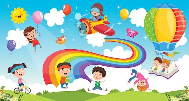 Vectorillustratie van regenboog kinderen Premium Vector
