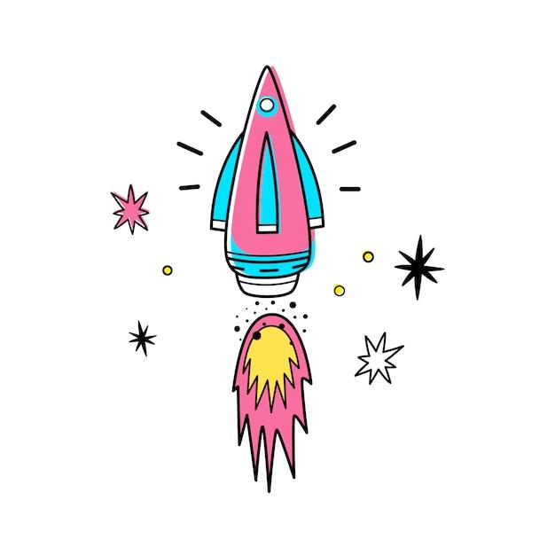 Vectorillustratie van ruimteraket en sterren. Premium Vector