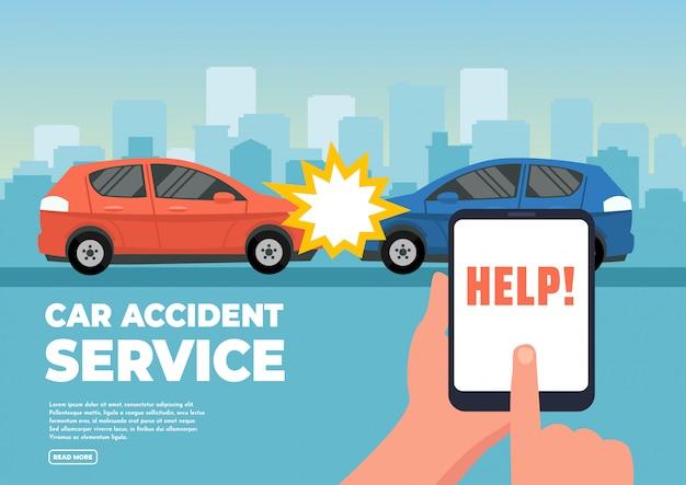 Vectorillustratie van twee auto's bij ongeval. Premium Vector