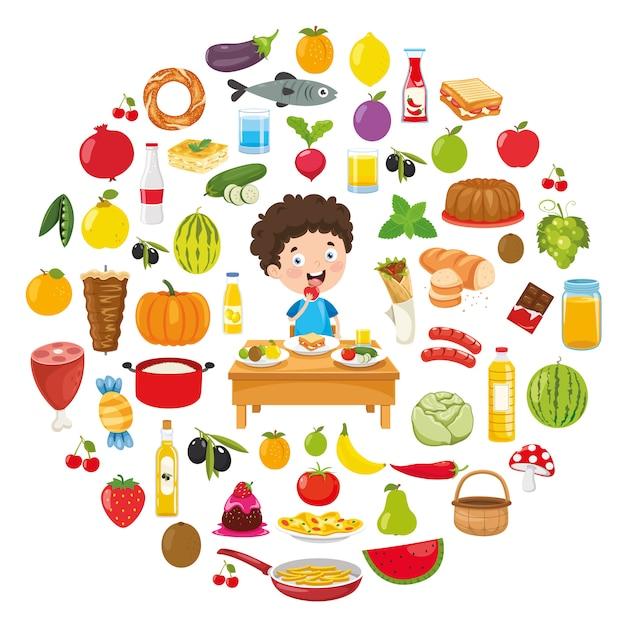 Vectorillustratie van voedsel conceptontwerp Premium Vector