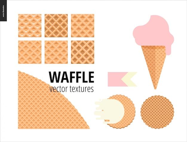 Vectorillustratie van zes naadloze wafelpatronen Premium Vector
