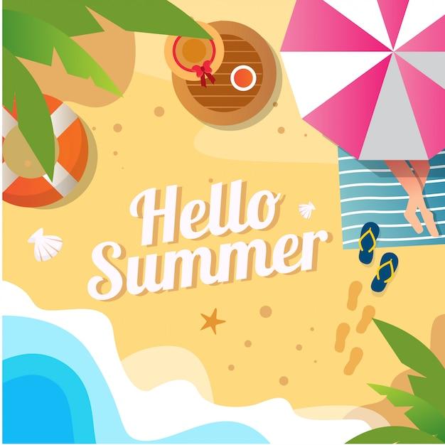 Vectorillustratie van zomer beach achtergrond met kokos blad voor sociale media Premium Vector
