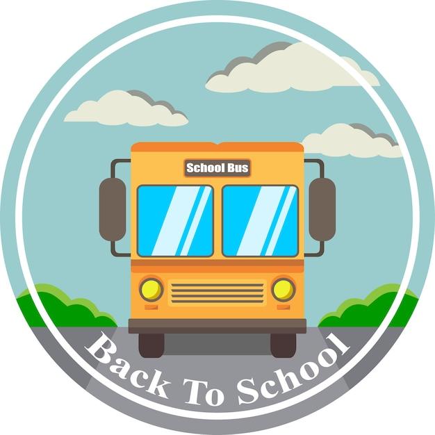 Vectorillustratie welkom terug naar school op de bus Premium Vector