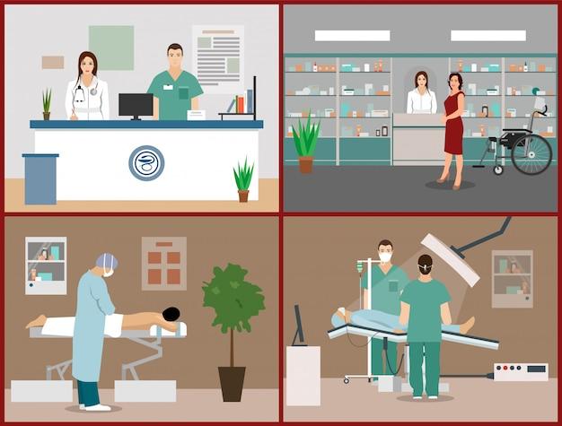 Vectorillustraties instellen met patiënten, artsen en ziekenhuisinterieurs. gezondheidszorg en geneeskunde concept. kliniekontvangst, massage, operatie operatie kamer Premium Vector