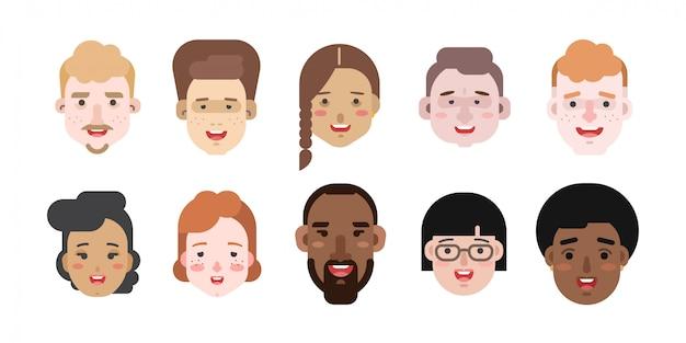 Vectorillustraties van vrouwen en mannen van verschillende rassen en nationaliteiten Premium Vector