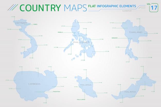 Vectorkaarten voor vietnam, maleisië, de filippijnen, thailand en cambodja Premium Vector