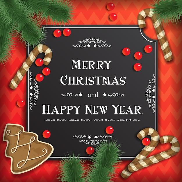 Vectorkerstmisachtergrond met groetkaarten, feestelijke peperkoek, parels en kerstboomtakken op rood. Premium Vector