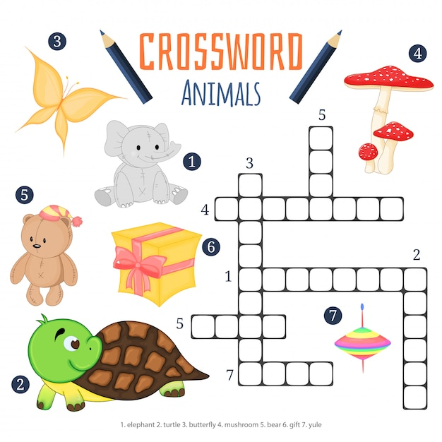 Vectorkleurenkruiswoordraadsel, kinderachtig onderwijsspel over dieren Premium Vector