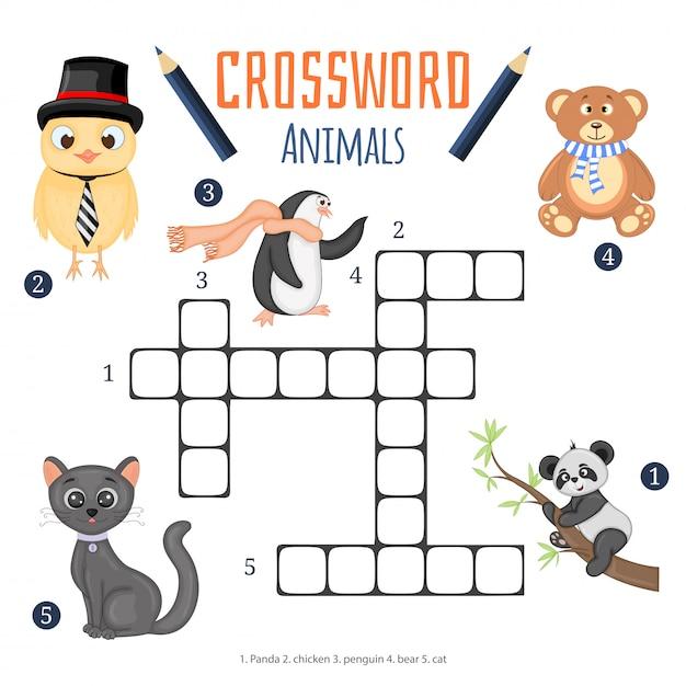 Vectorkleurenkruiswoordraadsel, onderwijsspel voor kinderen over dieren Premium Vector