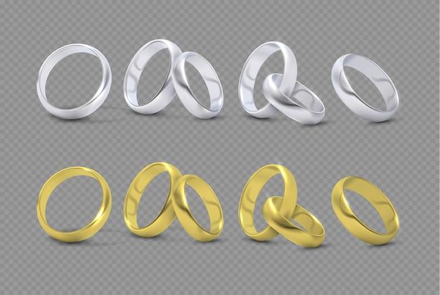 Vectorluxe zilveren en gouden huwelijk Premium Vector