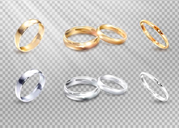 Vectorluxe zilveren en gouden trouwringen. Premium Vector