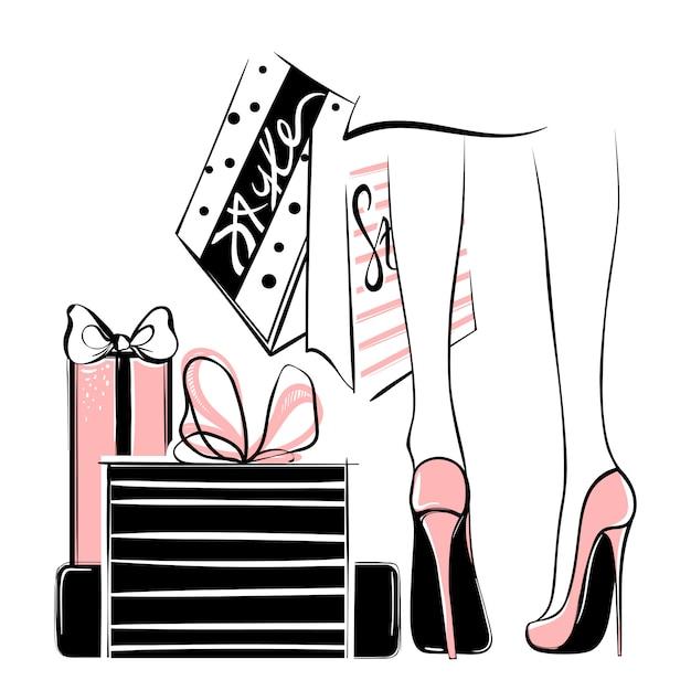Vectormeisje in hoge die hielen door het winkelen zakken, giftdozen worden omringd Premium Vector