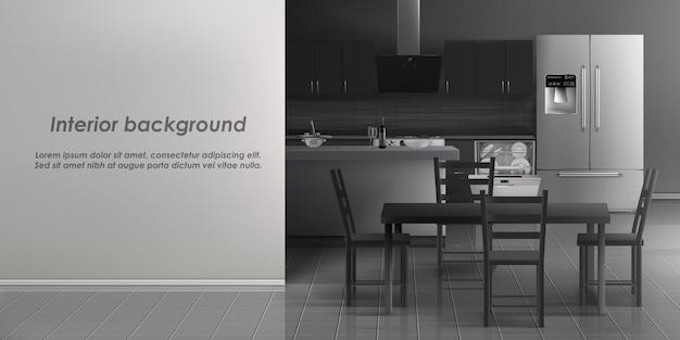 Vectormodel van keukenruimtebinnenland met huishoudapparaten, ijskast, afwasmachine met schotel Gratis Vector