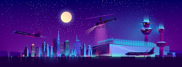 Vectornachtluchthaven met vliegtuig en helikopter Gratis Vector