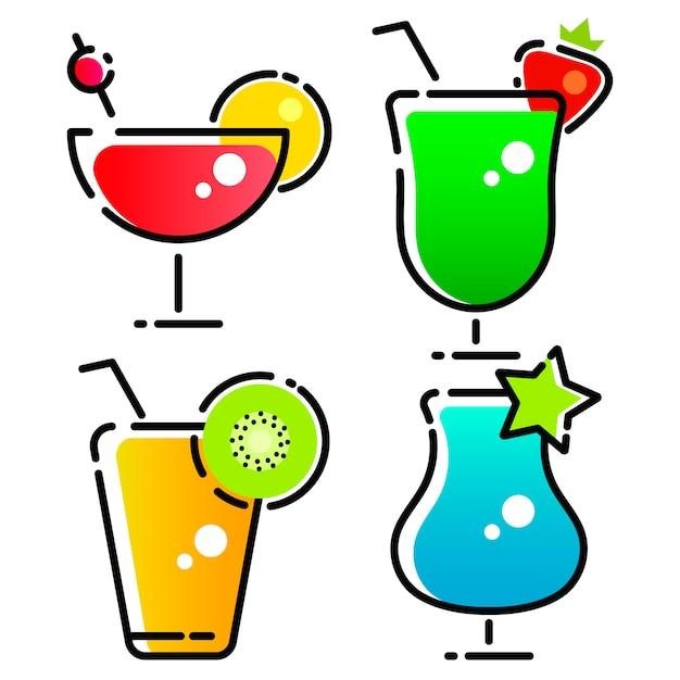 Vectorontwerp van cocktail en drankembleem Premium Vector