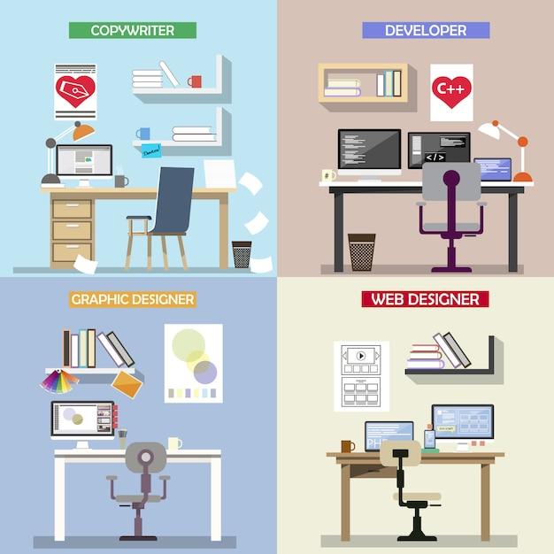 Vectorontwerpconcept voor werkende plaatsen Premium Vector