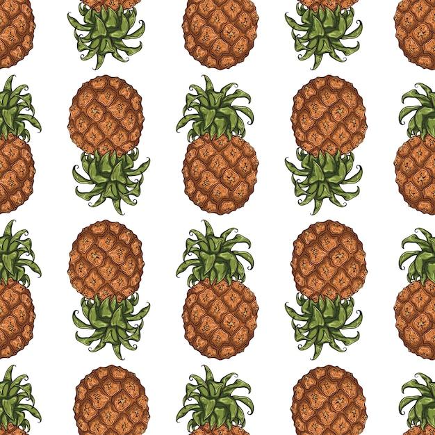 Vectorpatroon van ananas in schetsstijl. Premium Vector