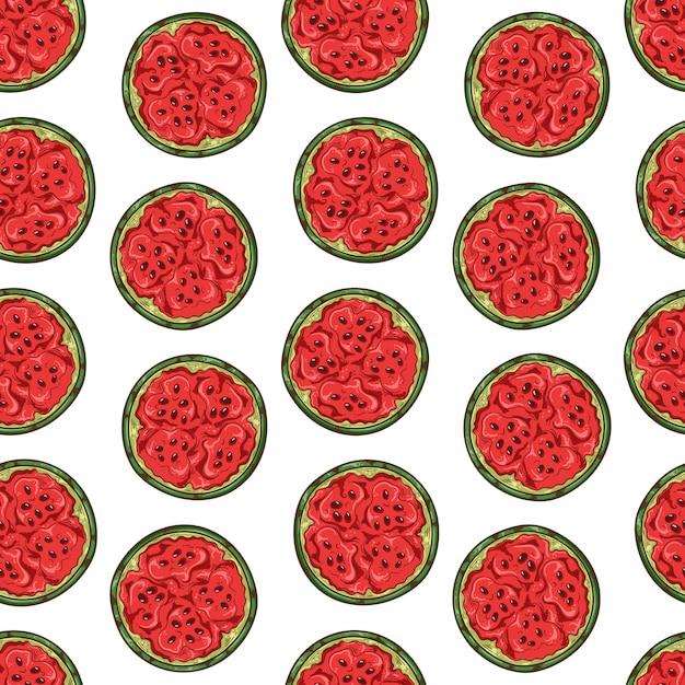 Vectorpatroon van watermeloen in schetsstijl. Premium Vector