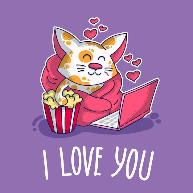 Vectorprentbriefkaar over kat in liefde Premium Vector