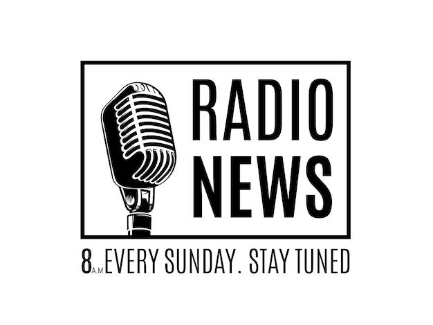 Vectorradio nieuwslogo met microfoon in frame dat op witte illustratie wordt geïsoleerd als achtergrond Premium Vector