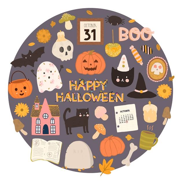 Vectorreeks gelukkige in hand getrokken stijlelementen van halloween Premium Vector