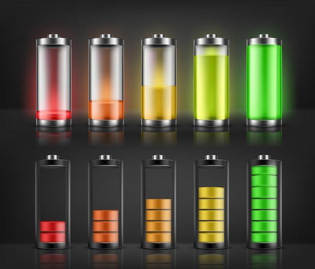 Vectorreeks indicatoren van de batterijlast met lage en hoge energieniveaus die op achtergrond worden geïsoleerd. vol Gratis Vector