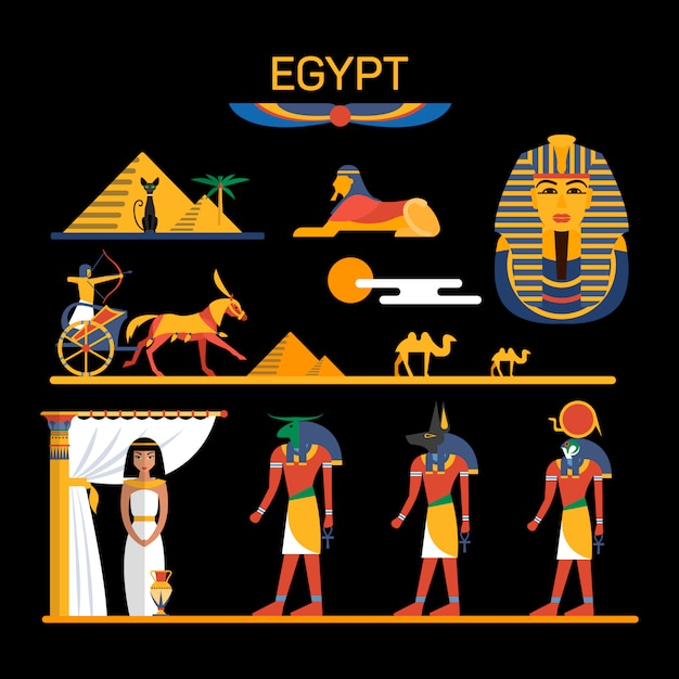 Vectorreeks karakters van egypte met farao, goden, piramides, kamelen. illustratie met egypte geïsoleerde objecten. Premium Vector