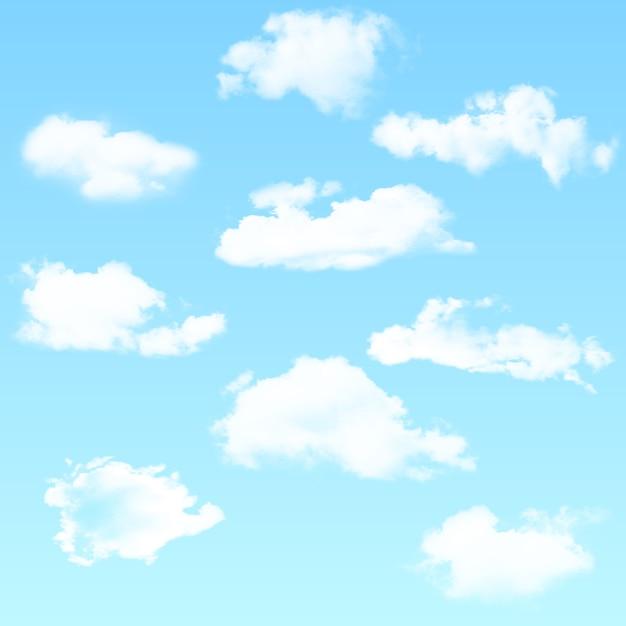 Vectorreeks realistische geïsoleerde wolk op de blauwe achtergrond. vector illustratie. Premium Vector