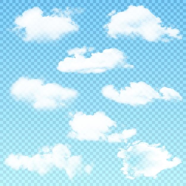 Vectorreeks realistische geïsoleerde wolk op transparant Premium Vector
